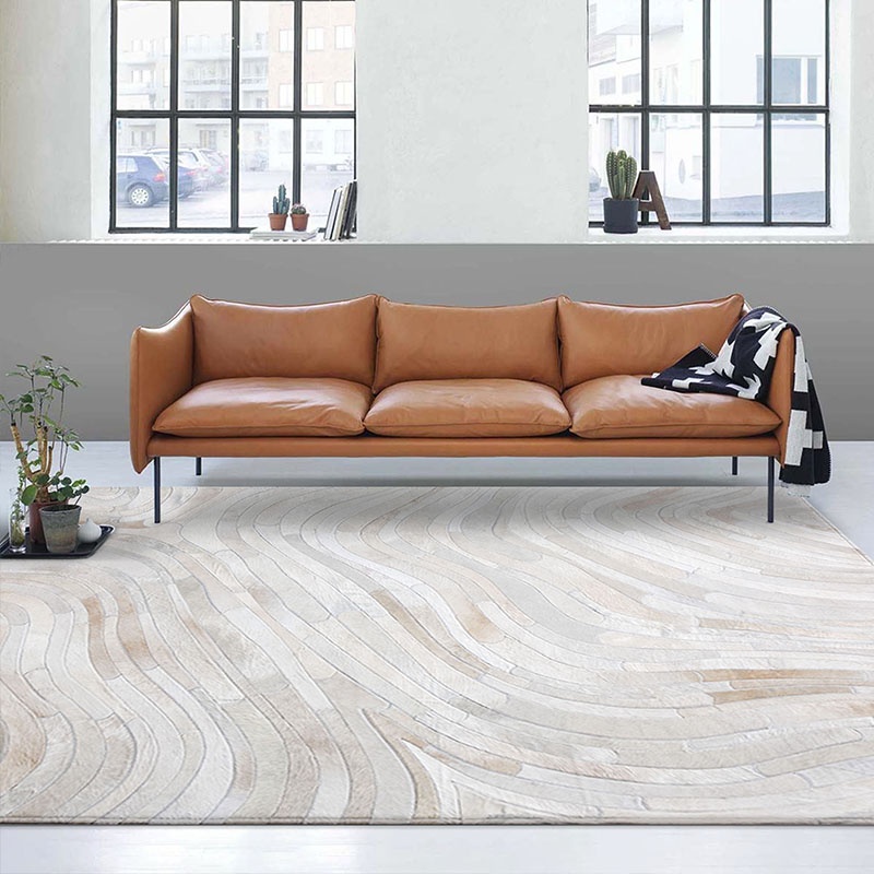 Natural Cow Skin Hide  Carpet  For Living Room Luxury Cowhide Seamed Square Striped Carpet Big Size Decoration Office Carpet