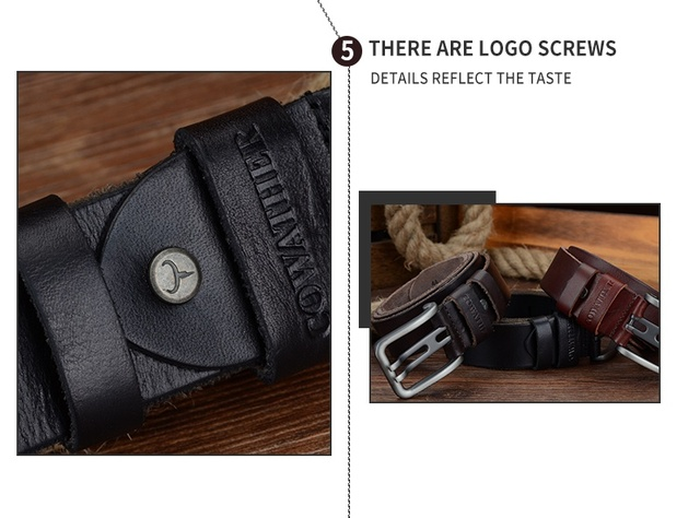 Genuine Leather Alloy Pin Buckle Belt For Men. Available Colors – Black, Coffee, Brown