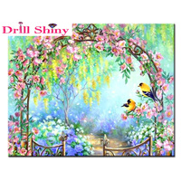 Garden Embroidery DIY Diamond Cross Stitch Completely Inlaid Square Diamond 5D Embroidery Pattern Home Decoration Painting