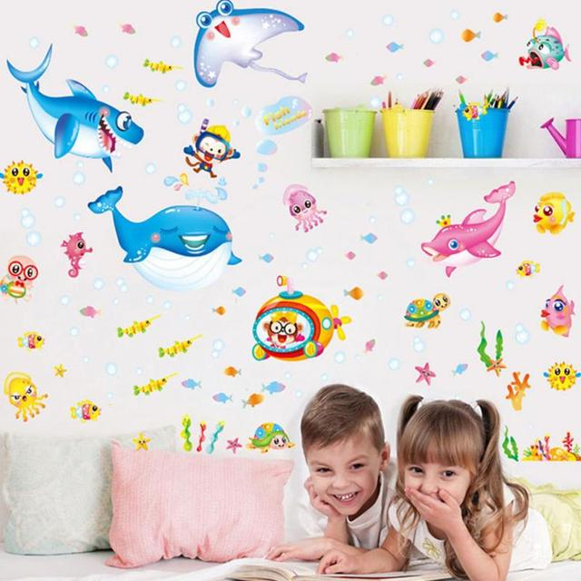 Cartoon Sea Animals Theme Wall Decor Stickers Childrens Room Kindergarten Classroom Background DIY