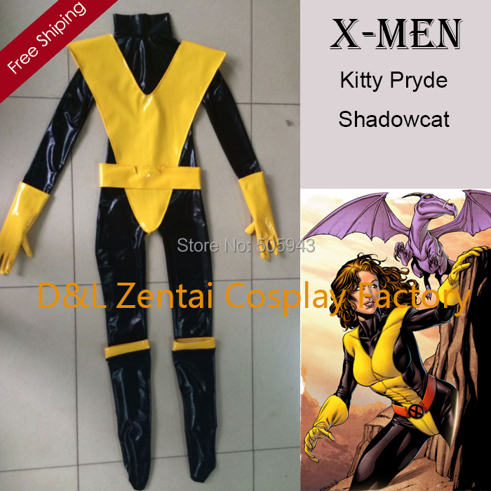 Free Shipping DHL X Men Kitty Pryde Shadowcat Superhero Costume Black Yellow Shiny PVC Catsuit Halloween