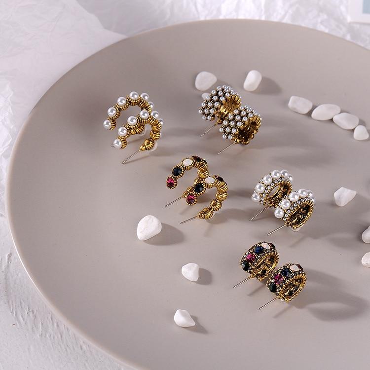 MENGJIQIAO 2019 New Hot Sale Vintage Colorful Rhinestone Small Hoop Earrings Women Fashion Simulated Pearl Semicircle Pendientes