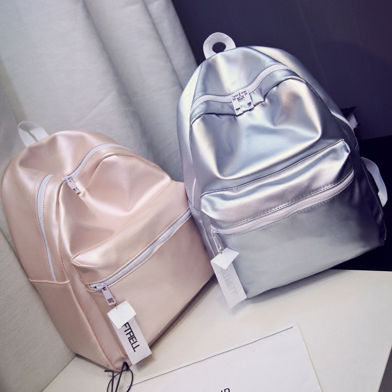 Ladies Leather Silver Backpack Women Bag Glossy Solid 2017 New Backpacks for Teenage Girls Escolar Mochila Masculina Fashion Hot women backpack solid schoolbags backpacks for teenage girls hot lona escolar mochila feminina backpack women mochilas mujer 2017