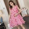 Платье для беременных Летний шифон без рукавов юбка новая корейская мода широкий принт сосновая юбка для беременных