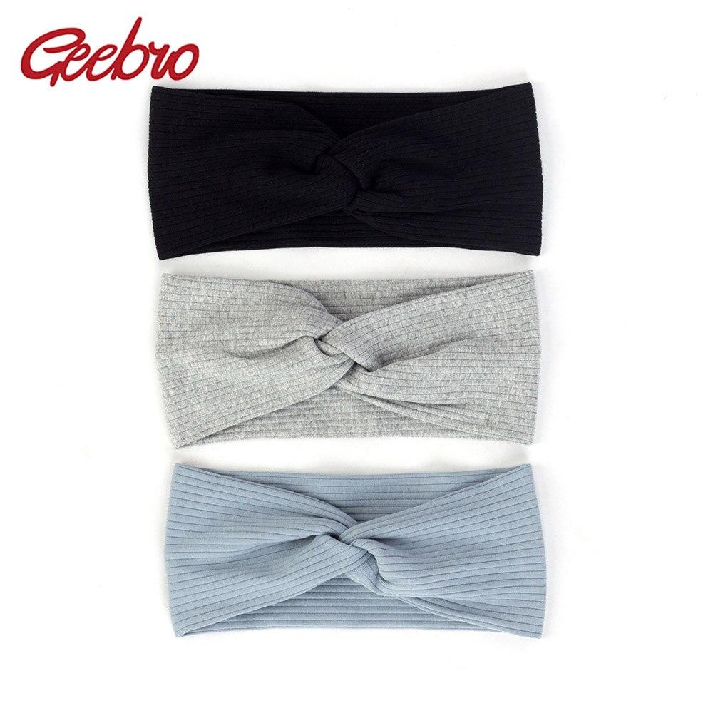 Geebro Women Ribbed Cotton Stretch Headband Striped Cross Knot  Headwear Twisted Turban Headpiece Fashion Hair Accessories