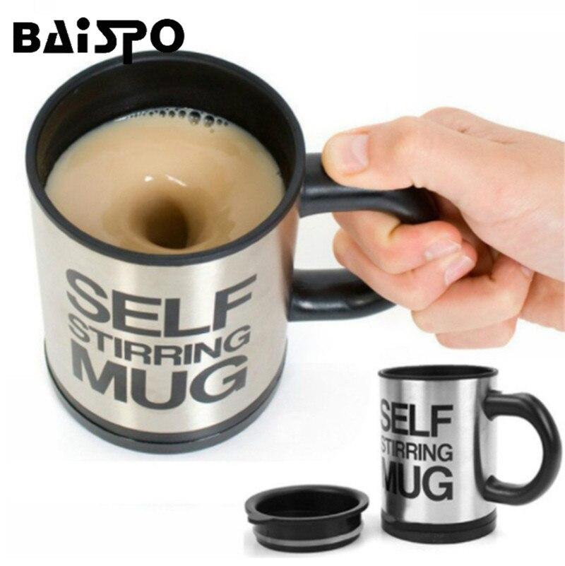 BAISPO 400 Ml Tazza Elettrico Automatico Pigro Auto Agitazione Tazza di Caffè Latte Automatico di Miscelazione Tazza di Tè In Acciaio Inox Intelligente Mix tazza