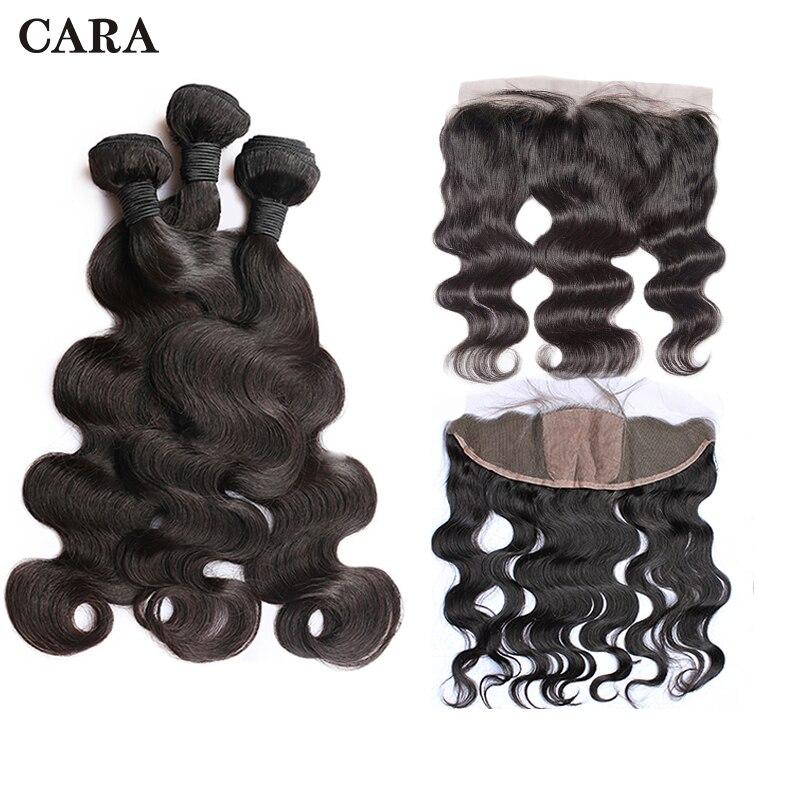 Body Wave Bundles With Closure Human Hair Bundles 13X4 Silk Base lace Frontal Closure Brazilian Virgin Hair Extension CARA