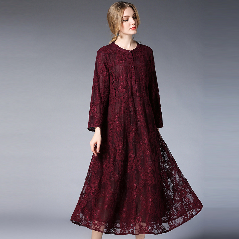 2018 Spring Elegant Long Dress Women O Neck Long Sleeve Lace Dresses Loose Plus Size Maxi 4XL Red Party Casual Women Dress embroidered casual loose knitted dress flower long sleeved dress o neck line plain dresses fall casual dresses
