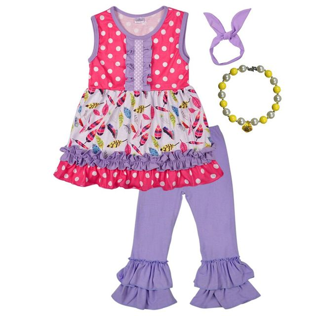 cb071985b95 New Fashion Boutique Outfits Sets Cute Kids Summer Remake Clothes Purple  Floral Dress Ruffle Pants With Accessories 2GK712-053