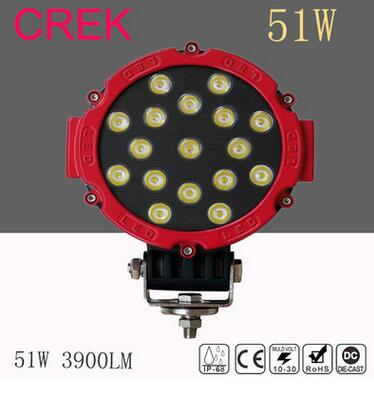 Round work lamps led truck light 51W DC24V 17LEDS 3900lm off board boat car light for Motorcycle Tractor ATV 4X4 emergecy lights 2pcs truck light 4 leds lamp