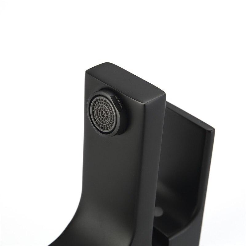 Высококачественный кран для ванной комнаты, Черный Твердый латунный кран для ванной комнаты, кран для раковины, смеситель для холодной и го... - 2