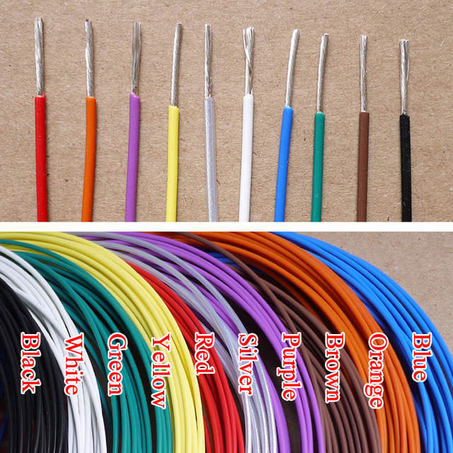2 2mm 15AWG Silver Plated Teflon PTFE Wire Silver Plated Oxyten-Free Copper  Cable 19 Strands Color Selectable
