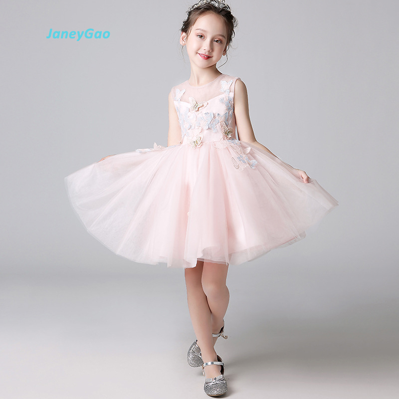 JaneyGao   Flower     Girl     Dresses   For Wedding Party Pageant   Girl   Formal Gown Fresh Pink Blue Little   Girl   Party   Dress   2019 New Style