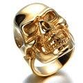 Hombres Anillo De Acero Inoxidable, Viantage, motorista, oro, cráneo KR5598