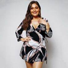 93c823893f6e9ad 2019 весна большой размер платье женское цветочный принт платье Женский  Плюс Размер deepv-вырез Платье