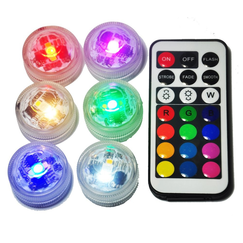 CR2032 Battery Powered Waterproof LED Underwater Submersible Light Remote Mini Tealights Wedding Birthday Holiday Party Decor