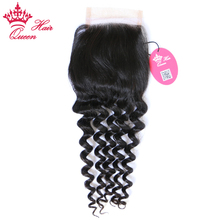 Queen Hair Products More Wave Brazilian Virgin Hair Lace Closure 10″-20″ Natural Color 100% Human Hair