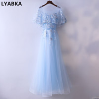 Evening Dress Robe De Soiree 2017 New Abiye Half Sleeve Prom Dress Scoop Neck Light Blue