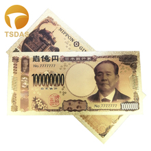 Japan Gold Plated Banknote 10pcs/lot 100 Million JPY Fake Banknotes Japanese Collectible for Business Gift