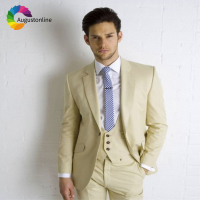 Champagne Men Suits Wedding Slim Fit Groom Blazer Tuxedos Prom Suits 3 Pieces (Jacket+Pants+Vest) Bridegroom Prom