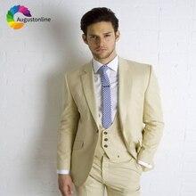 Champagne Men Suits Wedding Slim Fit Groom Blazer Tuxedos Prom 3 Pieces (Jacket+Pants+Vest) Bridegroom