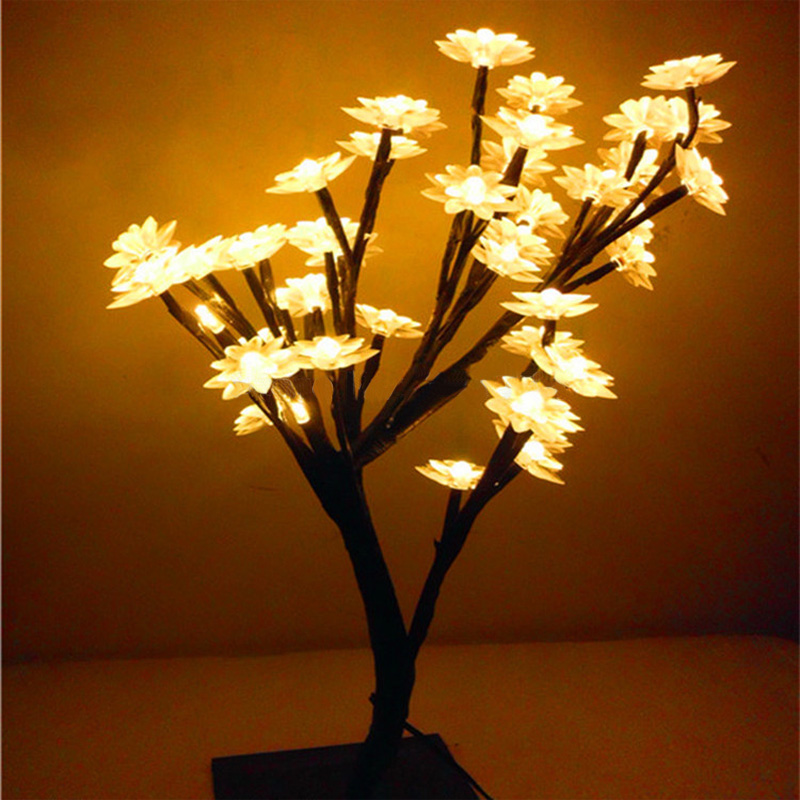 LED cherry tree Night lights Desk table lamps home indoor lighting for bedroom Christmas new year wedding Luminaria decoration fumat rose tree night lights novelty blossom tree lamp luminarias led home decoration indoor lighting pink white night lamps