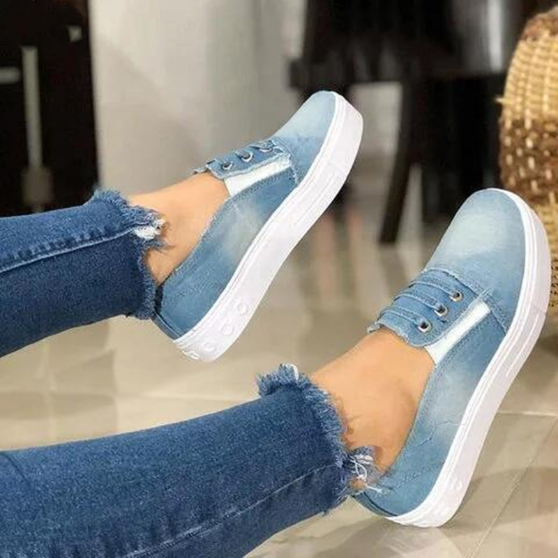 Women Slip On Flat Denim Casual Shoes Canvas Espadrilles Slipony Solid Breathable Blue Denim Fashion Student Shoes Size 35-43