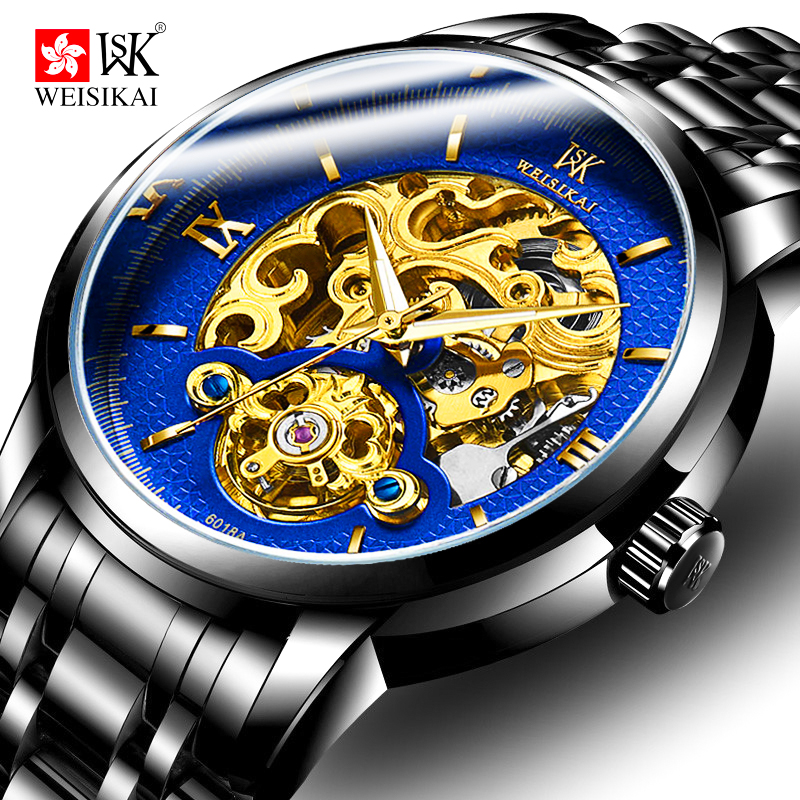 WEISIKAI Skeleton Automatic Watch Men Tourbillon Mens Mechanical Watches Luminous Waterproof Wristwatch Male Clock montre homme стоимость
