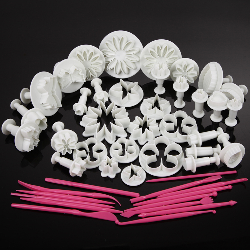 47pcs Flower Sugarcraft Cake Mold Fondant Plunger Rose Leaf Daisy Cutter Polymer Clay Mould DIY Baking tools Kitchen Accessories