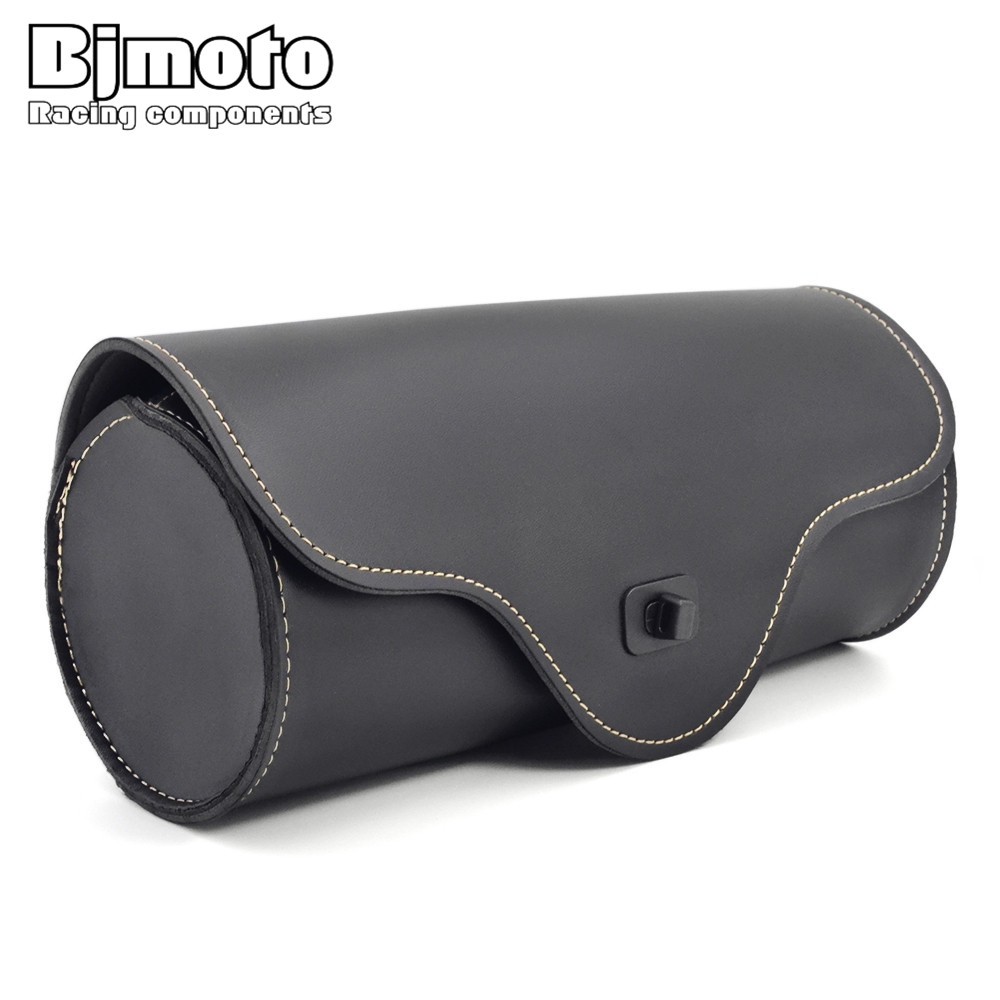 BJMOTO Black Motorcycle Accessories Moto Roll Barrel Saddle Bag PU Leather Metal Tool Bags Front Rear for Harley Davidson models