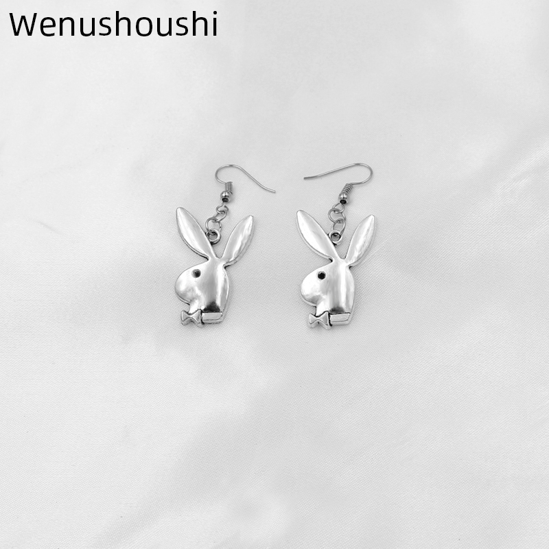 punk funny animals bunny <font><b>dangle</b></font> <font><b>earring</b></font> vintage hiphop rabbit head drop <font><b>earrings</b></font> for women girls gifts brincos para as mulheres image