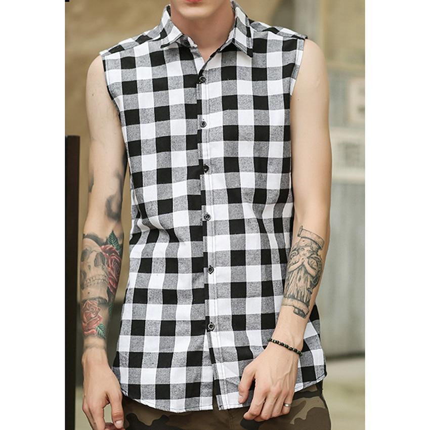 High Street Lattice Side Zipper Shirt For Men Men Summer Sleeveless Tops New  Men's Hip Hop Streetwear Shirt Male Clothes