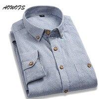 Aowofs высокое качество Рубашки Для мужчин Мягкий хлопок с длинным рукавом Для мужчин Рубашки осень Повседневное Для мужчин Полосатые рубашки...