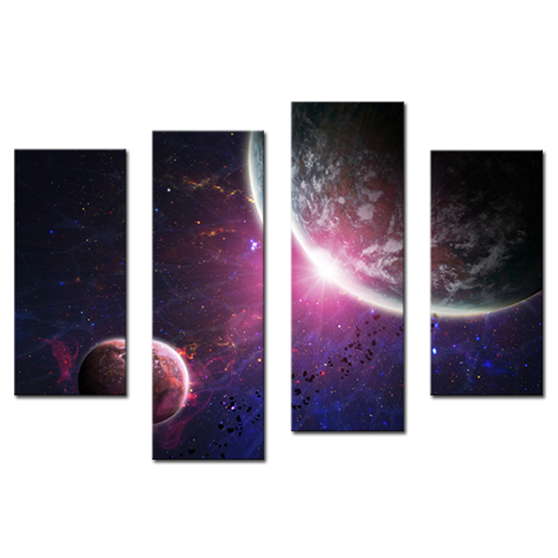 4 Panels Wall ART Purple Colourful Solar System Planets Earth Of Painting Printed On Canvas For Home Modern Decoration No Frame In Calligraphy