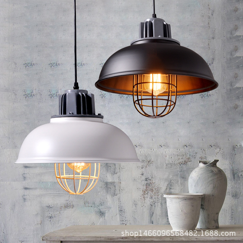 American retro lamps, originality, restaurant, bar light, decoration, iron cover black & white industrial pendant lamp vintage loft style vintage pendant lamp iron industrial retro pendant lamps restaurant bar counter hanging chandeliers cafe room