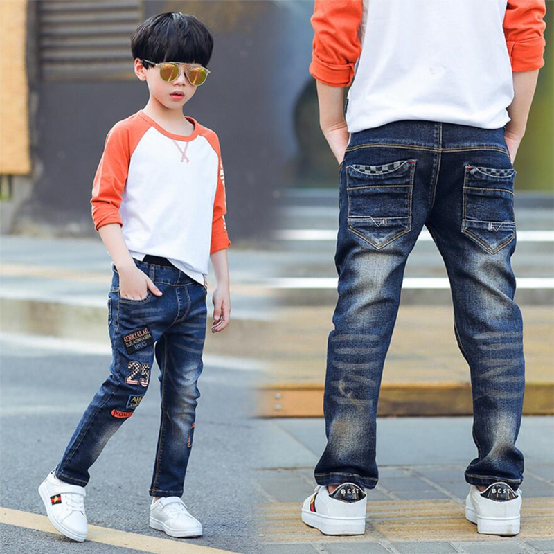 Classic spring autumn children's infant soft denim boy jeans casual trousers,Boy patch jeans. 3 4 5 6 7 8 9 10 11 12 13 14 year boys girl jeans pants spring autumn new big children jeans for girl trousers 2017 denim jeans kids size 4 5 6 7 8 9 10 11 year