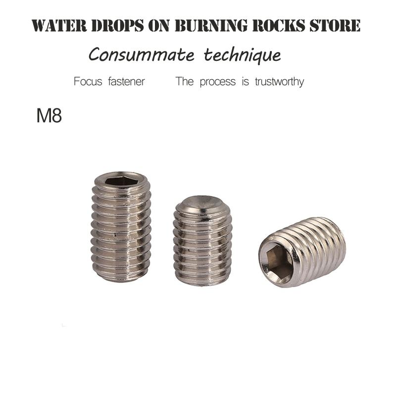 304 Stainless Steel Set Screws Bolt Machine Meters Inner Hexagon Hex Socket Cup Head Headless Top Wire M8*6/8/10/12-50mm