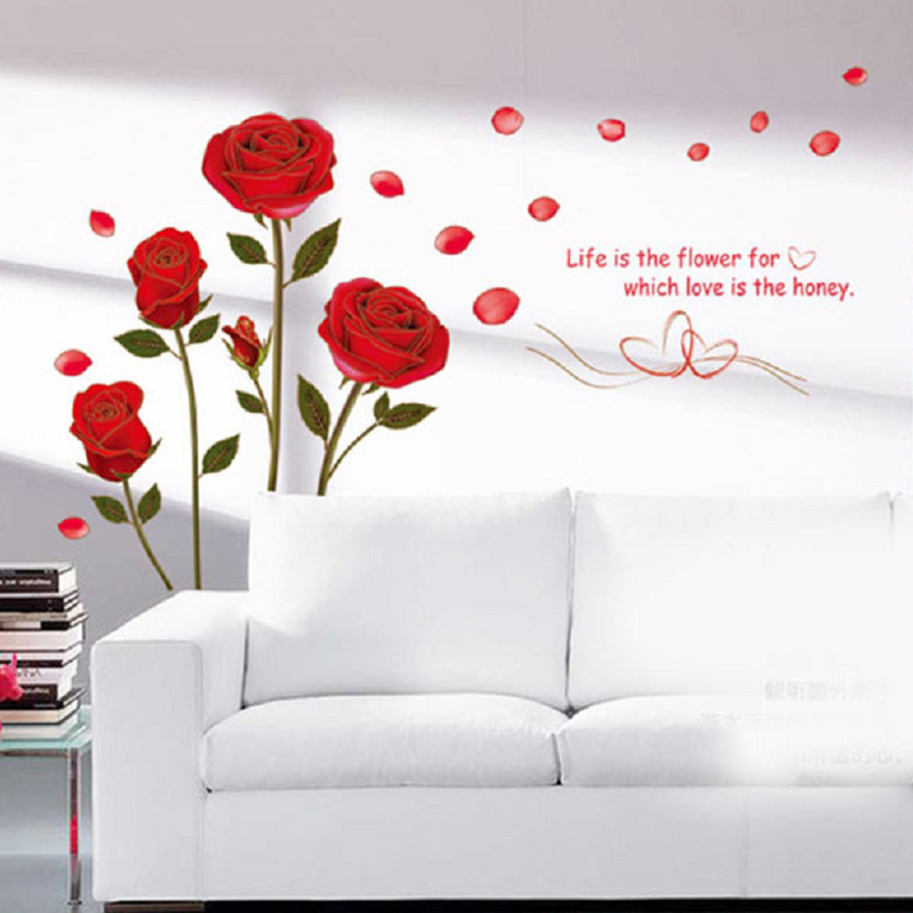 Diy Romantic Delightful Removable Red Rose Life Is The Flower Quote