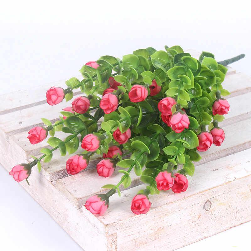 HI-Q Mini Rose fleur artificielle 30 têtes fleurs en soie maison jardin décoration Flores Bouquet pour mariage fête décor 6 couleur