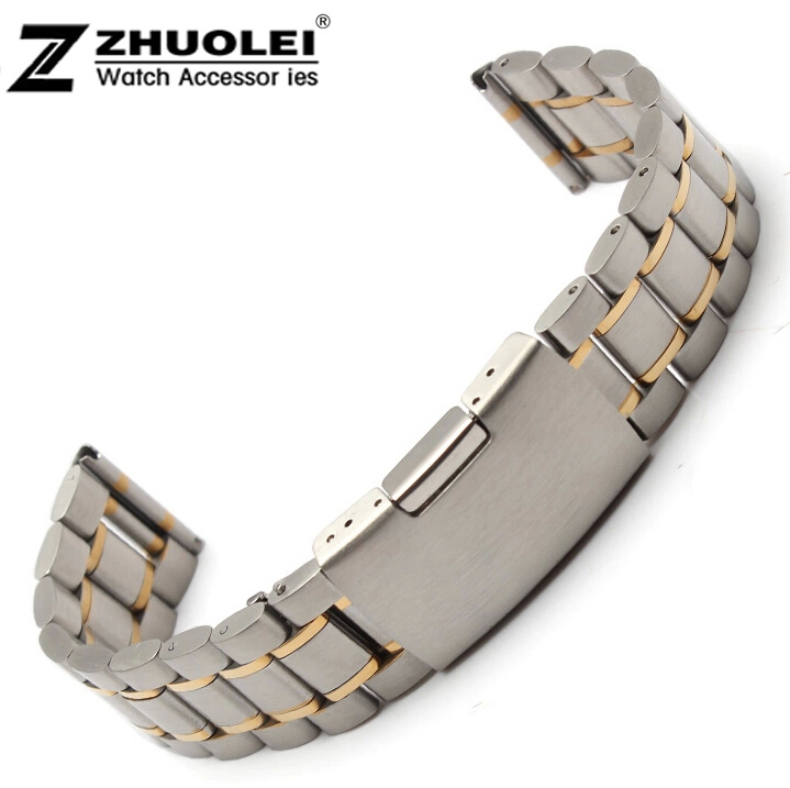 лучшая цена 14mm 16mm 18mm,20mm,22mm 24mm silver with gold Stainless Steel Solid Links Watch Band Strap Bracelet Straight End watchband