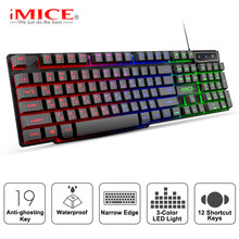Imice Gaming Keyboard Mekanis Perasaan Keyboard LED Backlit Keyboard Kabel 104 Tombol Rusia Keyboard untuk Komputer Pc Permainan(China)