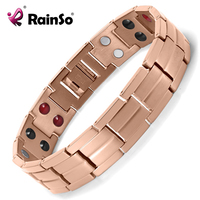 Rainso Healing Double Row 4 Elements Magnetic Men Negative Ion Energy Rose Gold Titanium Bracelet For