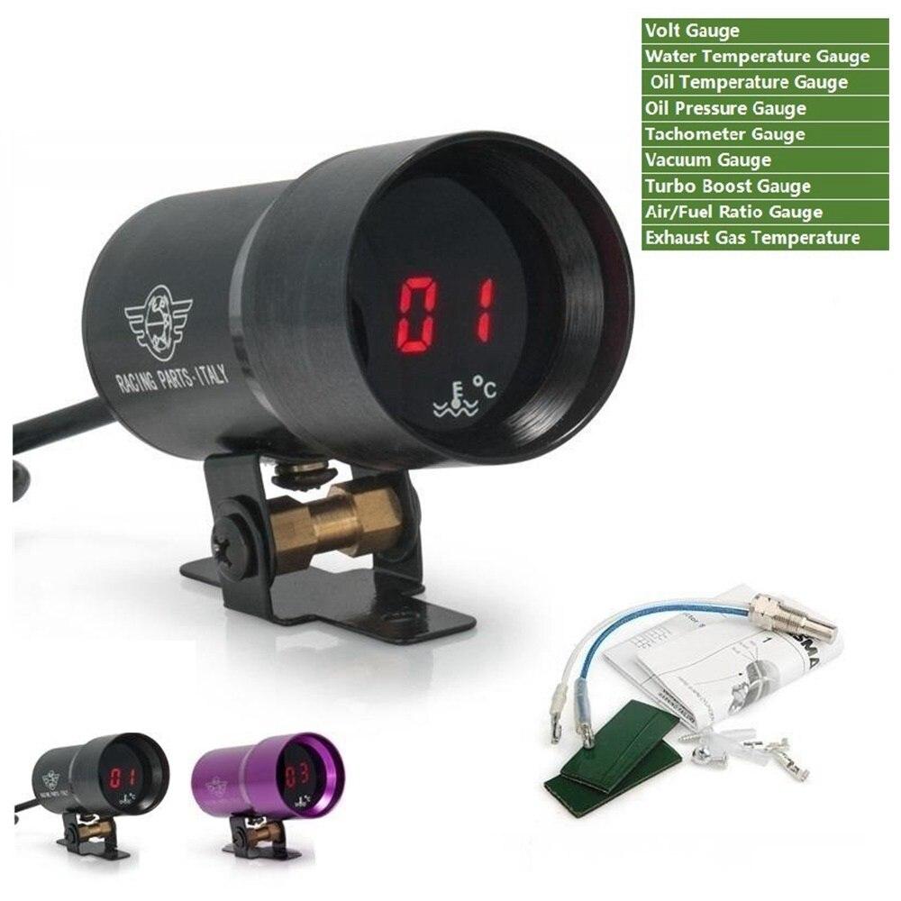 Electronic Voltmeter Gauges Oil And Water : Mm digital smoked volt meter water temp oil gauge