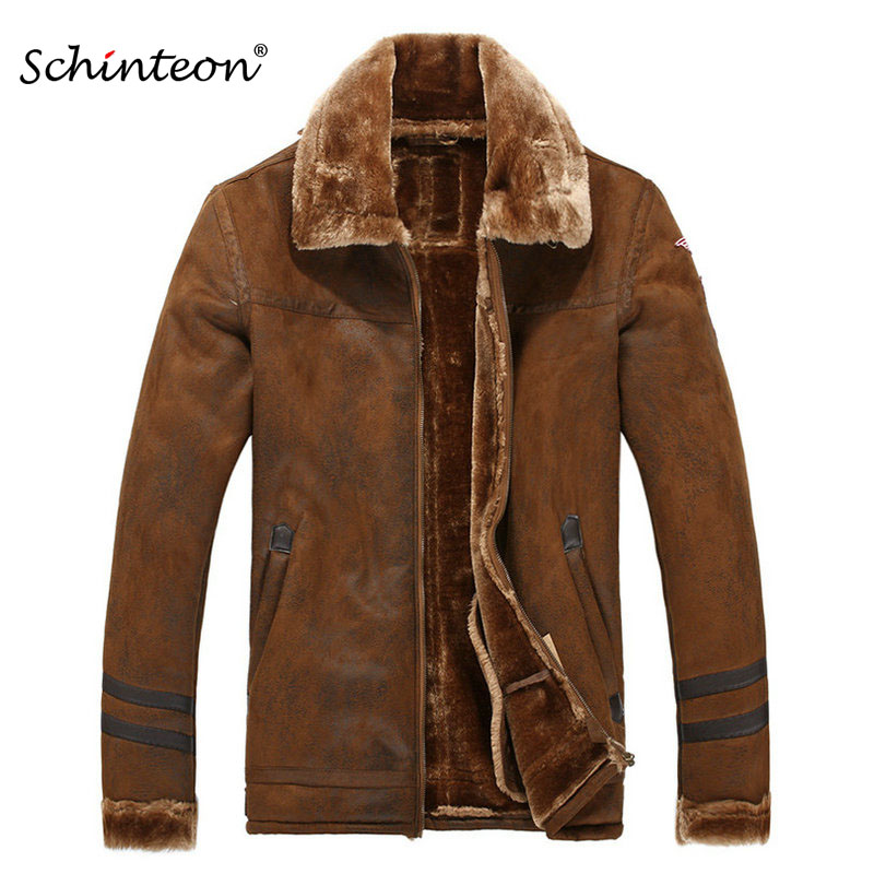 c3b2a4c94f1 European Style Men Leather Jacket Thick Warm Winter Outwear Faux Lambswool  Suede Leather Coat Jackets Brown