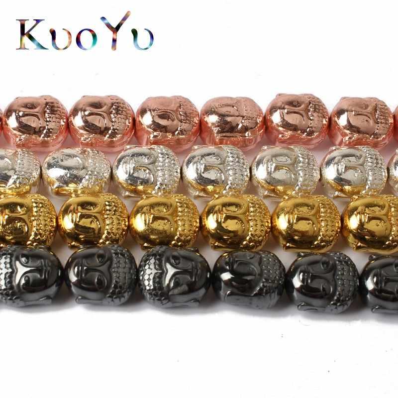 Buddha Head Spacer Beads Gold Plating Hematite Buddha Beads For Jewelry Making