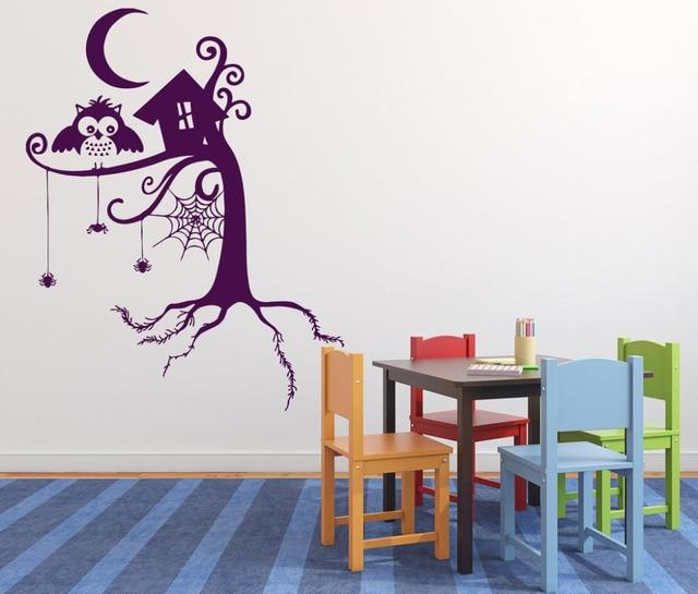 Wandtattoo Wald Kinderzimmer | Tier Wandaufkleber Marchen Wald Spinnennetz Owl Night Mond