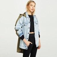 Jacket Women 2018 Autumn Winter Denim Jeans and Army Green Cloth Mix Coat Windbreaker Ladies Tops