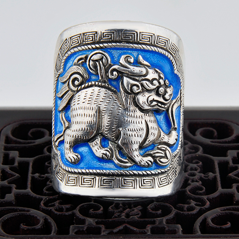 Brave ring Zhaocai fine silver 99 sterling silver ring antique retro enamel Shaolan ring [5230] men and women