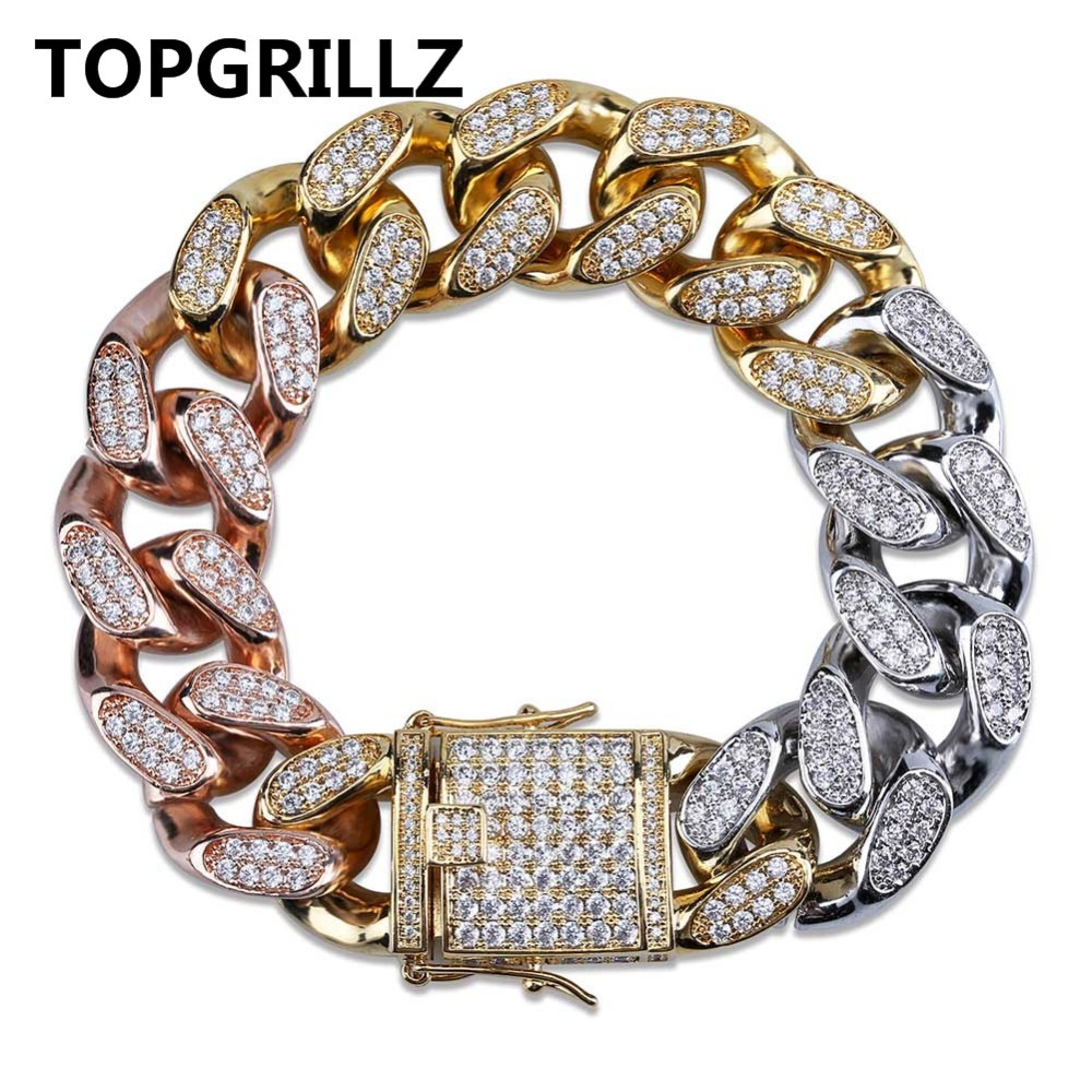 TOPGRILLZ New Style Mens Gold Silver Rose Gold Tricolor Iced Out Cubic Zircon Cuban Link Chain Bracelet Hip Hop Jewelry GiftsTOPGRILLZ New Style Mens Gold Silver Rose Gold Tricolor Iced Out Cubic Zircon Cuban Link Chain Bracelet Hip Hop Jewelry Gifts