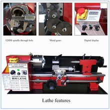 Brushless Motor All Metal Gears 650w Mini Lathe Machine Metalworking Digital Control Benchtop Milling 32mm Spindle Hole